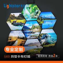 新款圆形无边框UV软膜卡布灯箱手机店招牌LOGO光箱室内广告牌灯箱