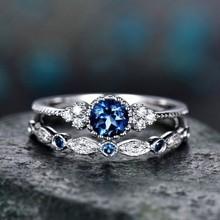 wish新款镶嵌祖母绿锆石戒指 女欧美时尚蓝宝石订婚套戒