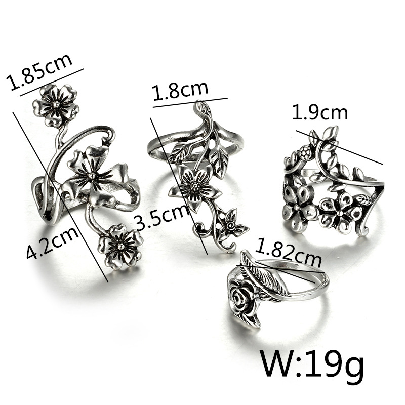 Alloy Vintage Flowers Ring  (Main color) NHGY1734-Main color