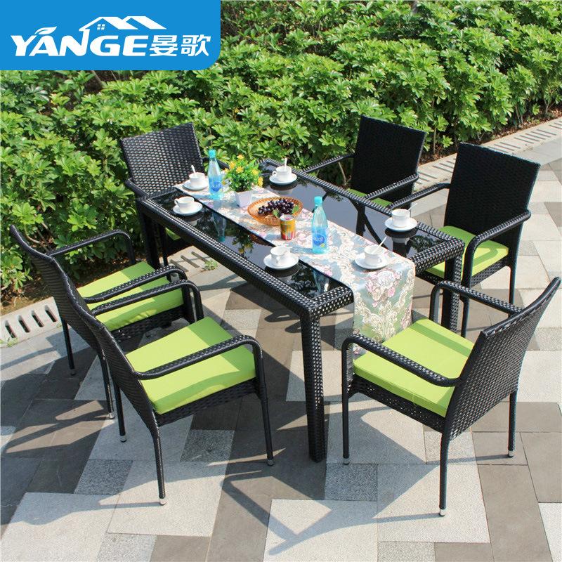 庭院藤椅三件套户外阳台藤编桌椅组合室外酒吧咖啡厅休闲桌椅家具