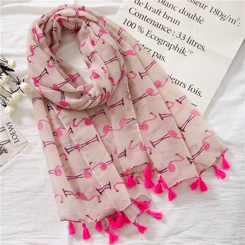 Pink Flamingo Thin Cotton Linen Scarf Traveling Sunscreen Beach Towel wholesales fashion NHGD199196
