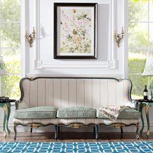 欧式进口白桦木手工雕花真皮布艺三人沙发休闲座椅