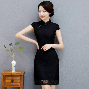 New women's dress improved lace slim fit retro short cheongsam daily fashion show thin cheongsam dress dress wholesale