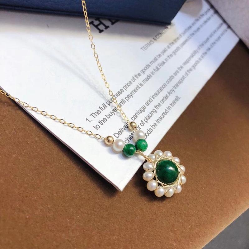 歐美時尚進口包14K金繞線編織天然淡水珍珠翡翠項鏈