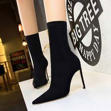 315-1 European and American minimalist women's boots, slim and heel sexy nightclub pedicure, slim and sharp lycra elastic short boots.