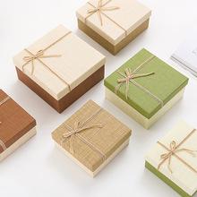 复古中国风麻绳正方形三件套礼盒 化妆品包装礼品盒 教师节礼盒
