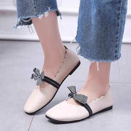 春季鞋子女2018新款百搭韩版时尚豆豆鞋平底浅口单鞋学生仙女的鞋