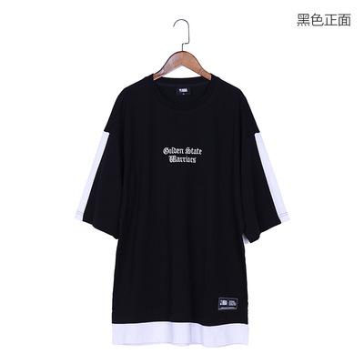 男士T恤 宽松大码刺绣短袖T恤 纯棉休闲范T恤男 欧美单18397