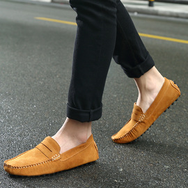 Autumn and winter wild sets of soft bottom lazy tide shoes new peas shoes men's leather matte casual men's shoes