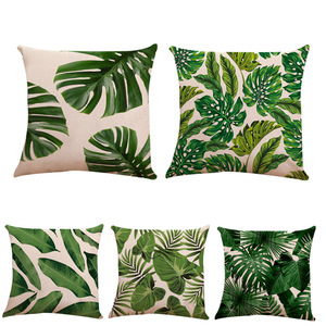 18'' Cushion Cover Pillow Case the European watercolor linen pillow case with plants