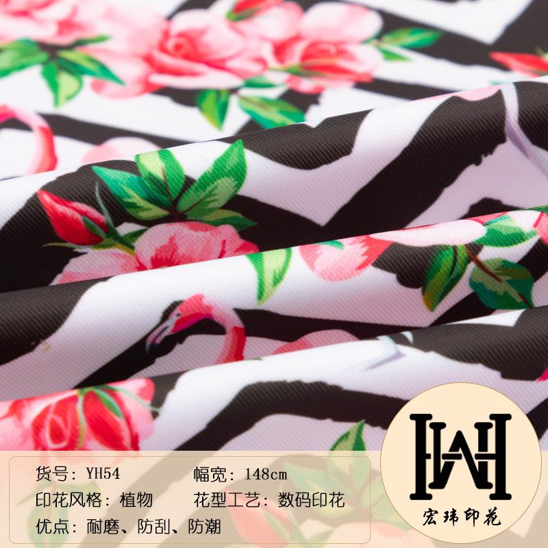 动物印花帆布 玫瑰丹顶鹤图案面料108*58全涤布料桌布箱包装饰布