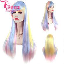 New product explosions wig female Europe and America cosplay anime color long straight hair rose net