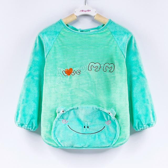 Áo len trẻ em không thấm nước cho bé Mùa thu mùa đông Cô gái chống mặc quần áo Trẻ em ăn quần áo Pha lê nhung bé Tạp dề Áo choàng