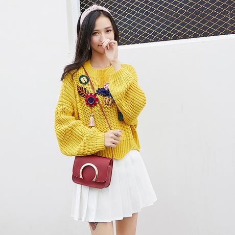 Túi xách nữ mùa thu đông mới phiên bản Hàn Quốc của thời trang đơn giản mini hoang dã nhỏ vuông vuông túi gió đại học đeo vai túi Messenger