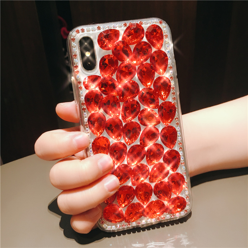 S9 luxury NOTE8 claw chain full rhinestone iPhoneX 8plus acrylic X20 apple 6S 7 mobile phone shell R11