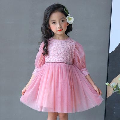 2018 mùa xuân mới cô gái Hàn Quốc cổ tròn rỗng nửa tay con váy factory outlet công chúa váy