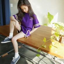 女童短袖套装夏装2018新款童装 夏季中大童两件套韩版运动童套装