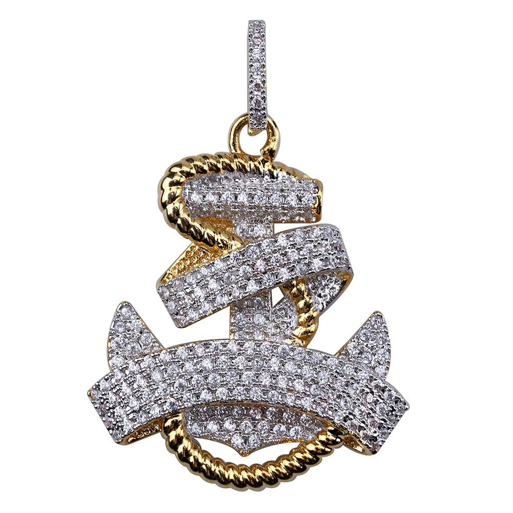 3f15f93fd Hip Hop Retro 18k Gold Plated Iced Out CZ Nautical Anchor Pendant Bling  Necklace, 23.6