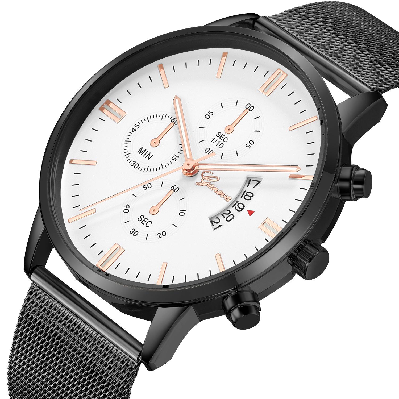 Unisex Striped Calendar Geneva Steel Mesh Watch Fashion Sleek Minimalist Quartz Analog