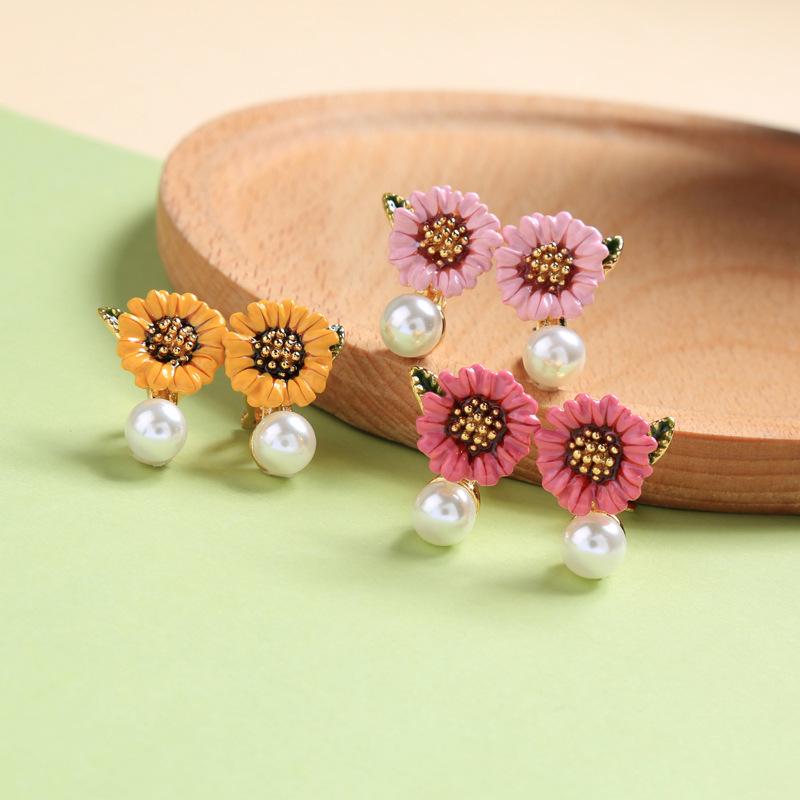 Copper Korea Flowers earring  Rose red1 NHQD5582Rosered1