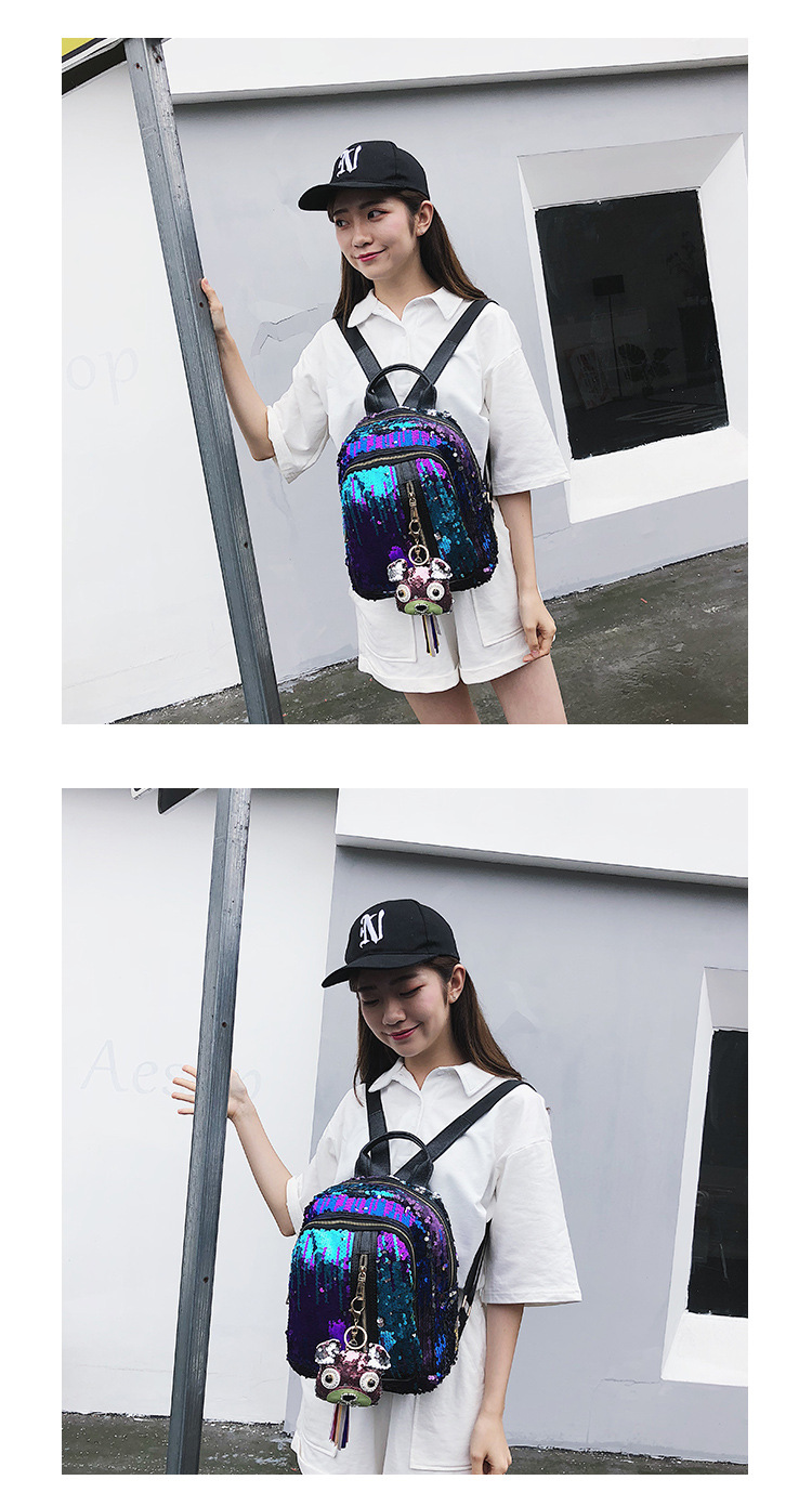 Cute sequins laser reflective vertical zipper student bag wholesale fashion backpack nihaojewelry NHPB212517