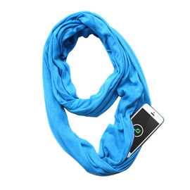 New explosion scarf pure color neutral jersey double warm multifunctional storage zipper pocket infinite bib