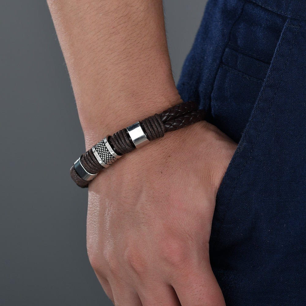 Leather Simple Geometric bracelet  (black) NHBQ1668-black