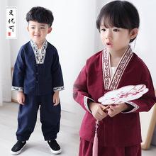 貝優可 秋款漢服童裝套裝批發男女童中國風繡龍三粒扣套裝21493