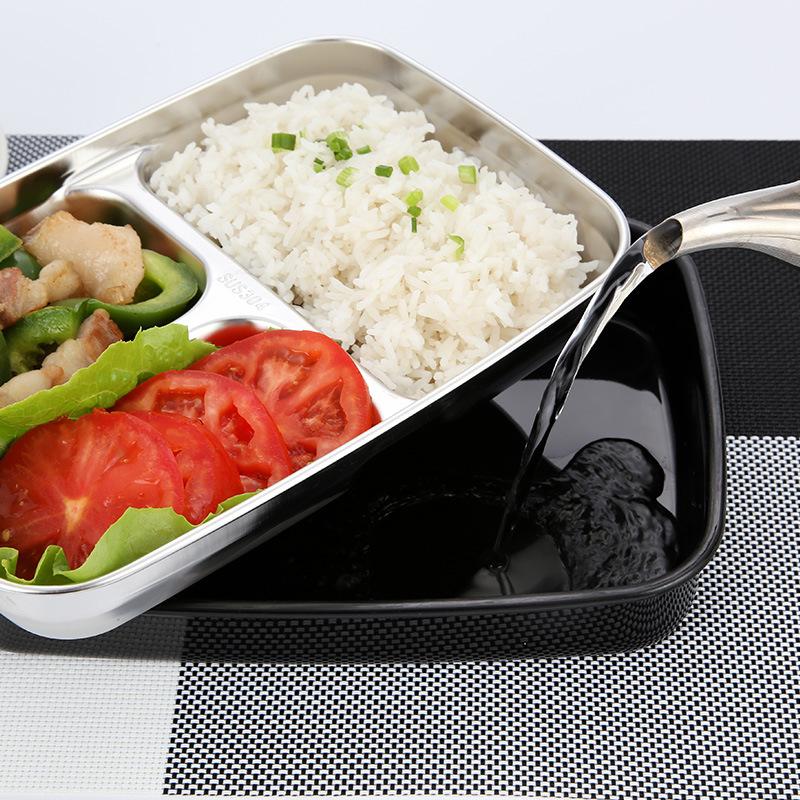 学生饭盒不锈钢304分格保温儿童便当盒三格方形快餐盘韩式配餐盒