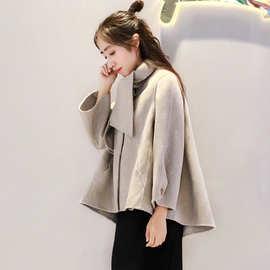 2019新款秋冬装斗篷格子双面呢大衣女短款小个子韩版羊毛呢外套