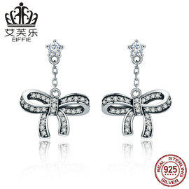Avery Korean style sells lovely bow S925 pure Tremella nail SCE403