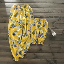 亲子装 夏装女童纯棉防蚊裤 儿童菠萝波西米亚七分裤