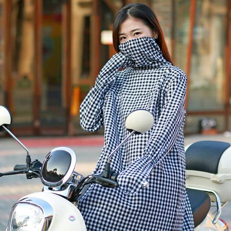 Điện đi xe ô tô mới chống nắng quần áo mặt nạ nữ phần dài bông khăn choàng quần áo nắng UV thân lattice mô hình Kính chắn gió