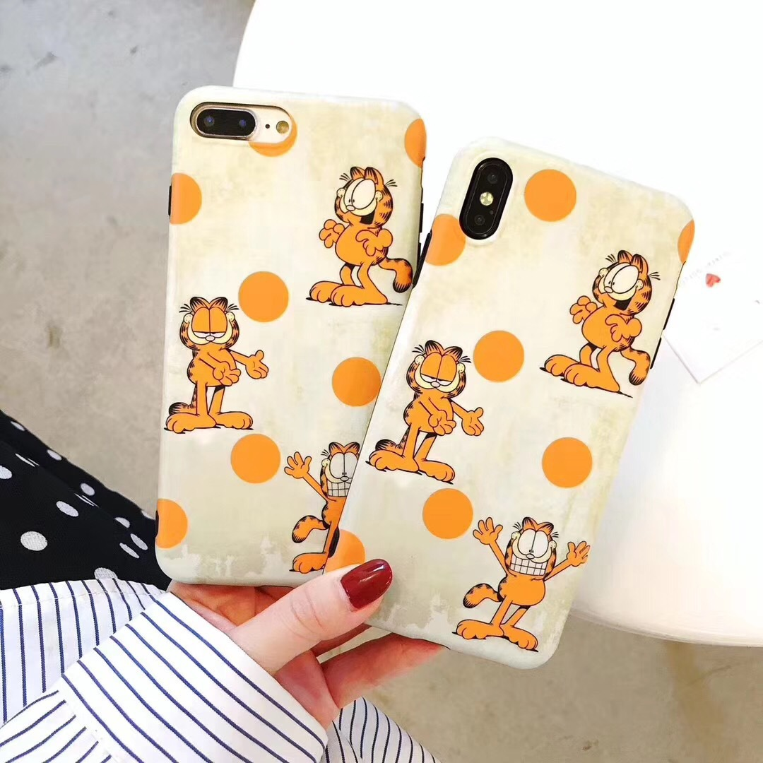 Cute creative Garfield for Apple X mobile phone shell lazy coffee cat iPhone7Plus all-inclusive soft shell 8p