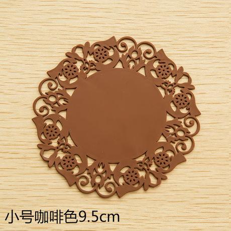 2061 tròn đế lót ly lót silica gel pad cách ren hoa món cốc trượt coaster placemat T Silicone giả