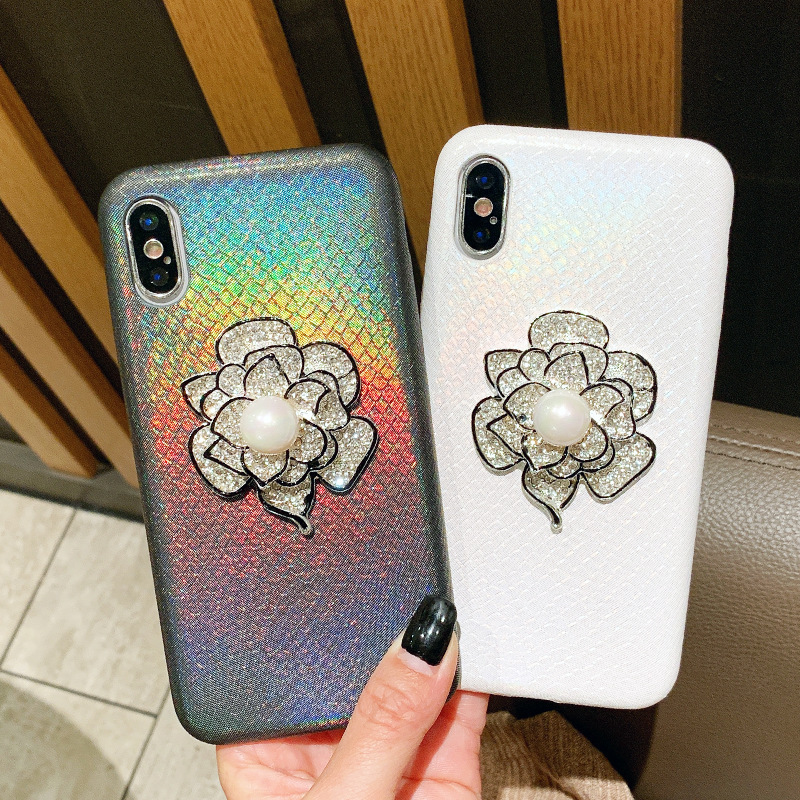 Applicable iphoneXR laser skin flower flower bouquet mobile phone shell apple 6s/7/8plus pearl fashion protection sleeve