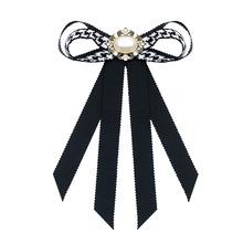 韩国外贸小香风蝴蝶结千鸟格女士职业胸针领结 珍珠别针服装配饰