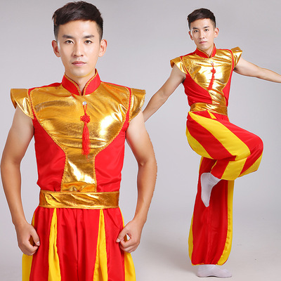 Chinese Folk Dance Dress Men's and women's Yangko costumes make a good start