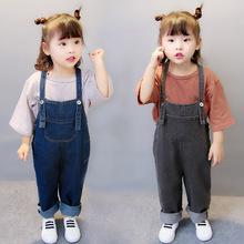 春款童装2018春季新款儿童牛仔裤韩版牛仔背带裤女童裤子一件代发