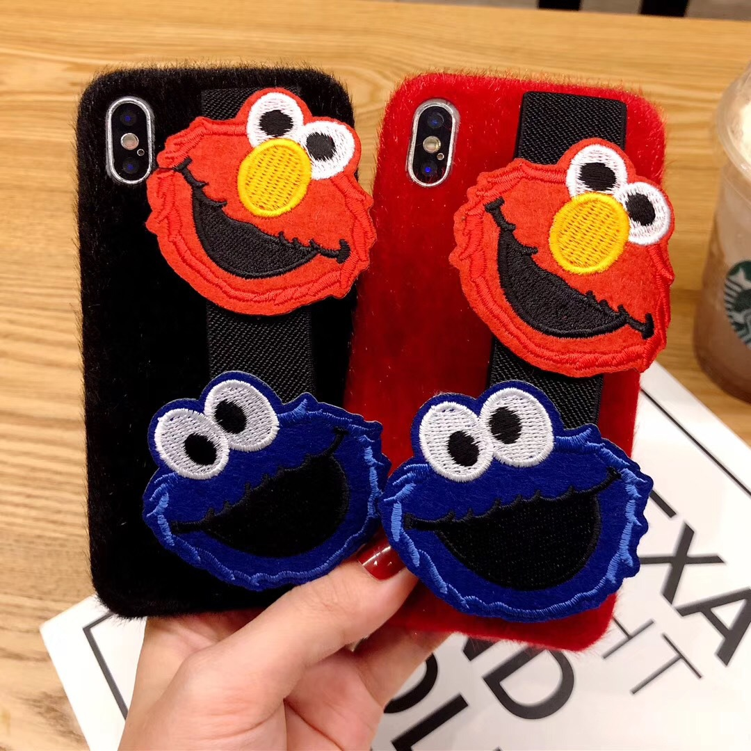 Fashion Sesame Street Cartoon Wristband Stand Apple 8plus Phone Case for iPhoneXR Horsehair Soft Case