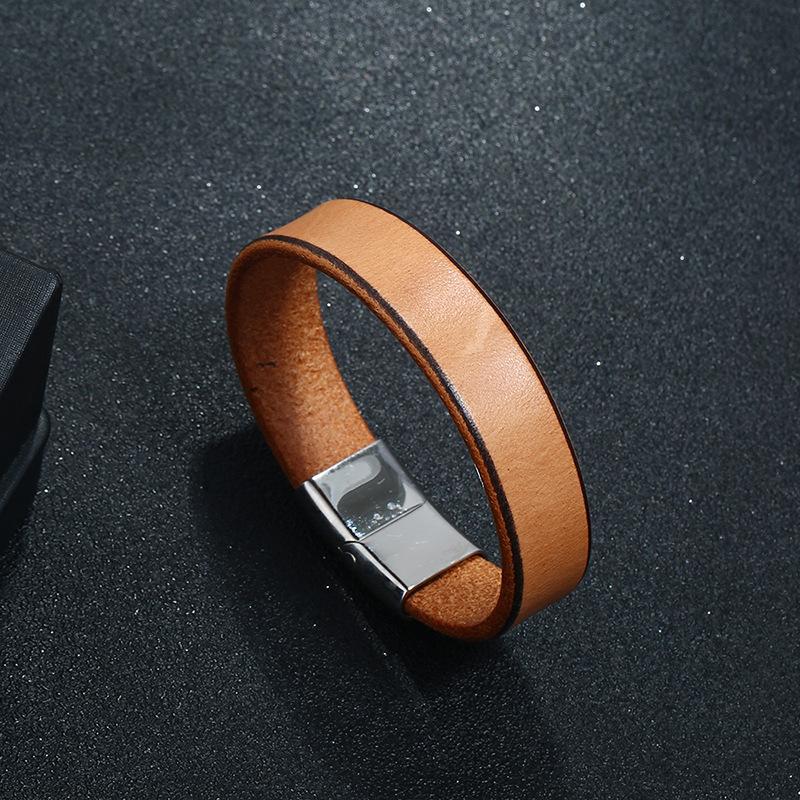 Leather Fashion Geometric bracelet  (Dark brown 20.5CM) NHPK2197-Dark-brown-20.5CM