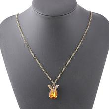亚马逊热卖时尚蜜蜂吊坠创意个性动物项链镶黄宝石锁骨链饰品批发