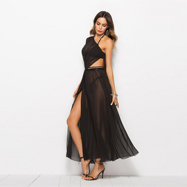 New products   Europe and the new chiffon mosaic dress skirt high-end sexy shoulder dress female