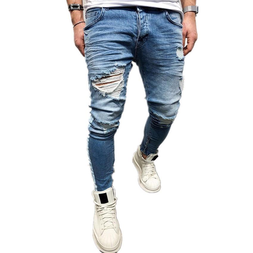 春夏欧美高街新款牛仔裤男士破洞拉链修身小脚裤侧边印花条纹男式