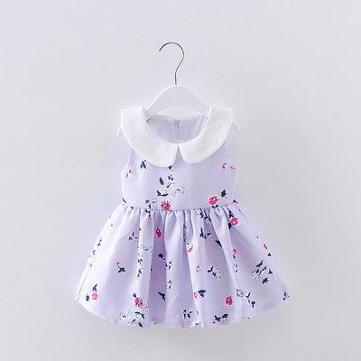2018 mùa hè cô gái mới váy 1-4 năm tuổi nữ bé bông hoa sườn xám ve áo không tay đầm