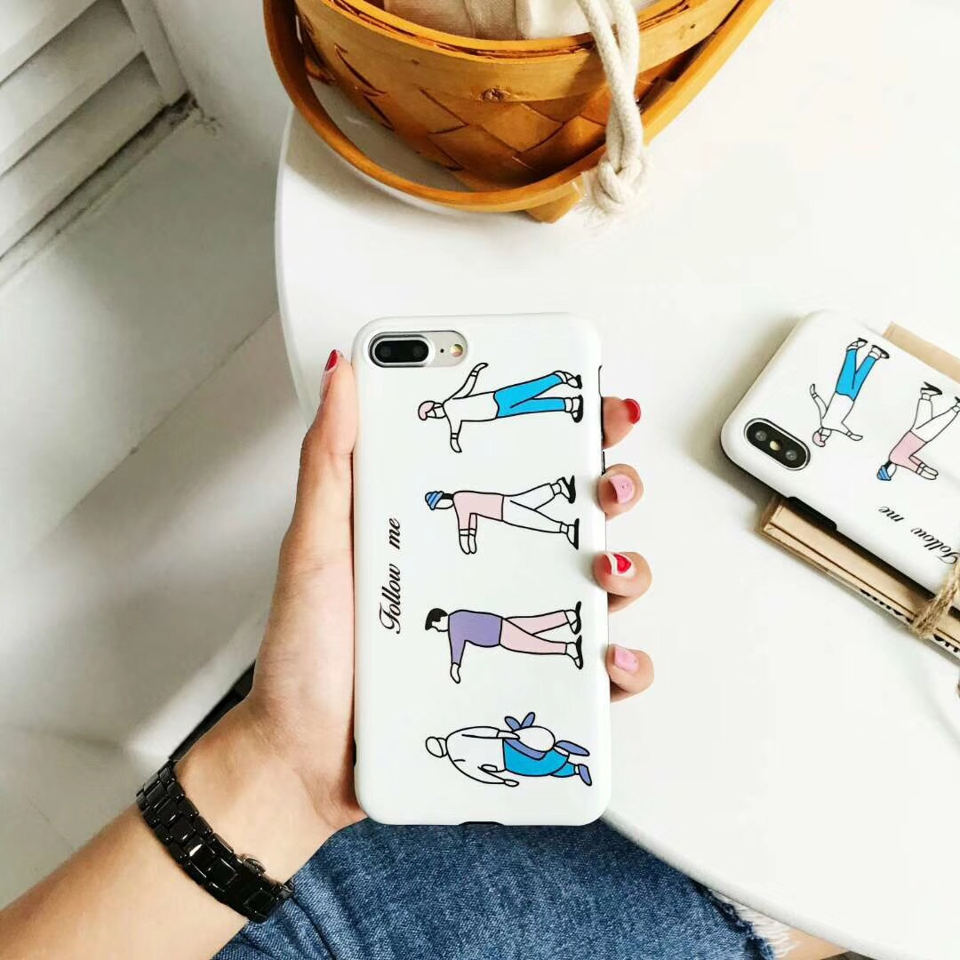 Hand draw graffiti small person iphone7plus mobile phone shell apple 6s/Plus protective cover all inclusive soft shell men and women