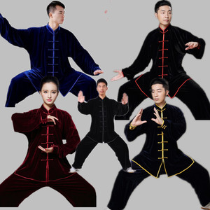 tai chi clothing kung fu uniforms Golden velvet performance costume for men and women Plush morning exercise martial arts performance training clothes