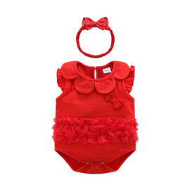 Female baby red full moon hundred days service baby cotton princess triangle hat small flying sleeves one-piece suit two-piece