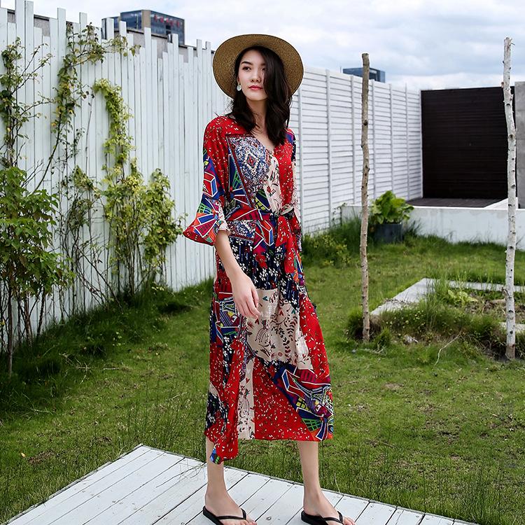 夏新款雪纺连衣裙海边度假长款显瘦长裙韩版裙子超仙女F254