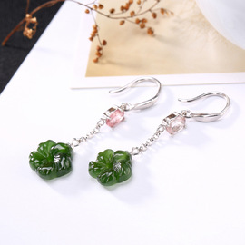 One deer silver S925 pure silver natural Hetian jade tourmaline inlaid with flowers lady's high-grade earrings